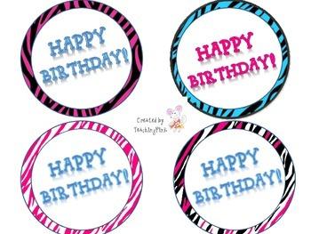 Zebra Print Happy Birthday Circles for Pencils