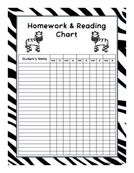 Homework and Reading Teacher Tracking Chart with Award Certificates Zebra Print