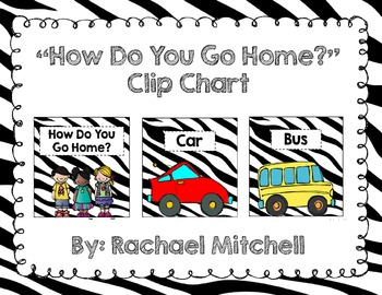 "Zebra Print ""How Do You Get Home?"" Clip Chart {with white labels}"