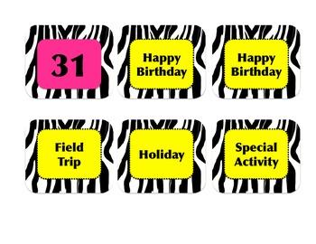 Zebra Print Jungle Classroom Calendar Display Kit