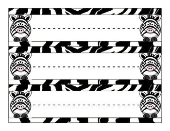 Zebra Print Jungle Name Tag Deskplates Mega Pack (over 30 styles!)