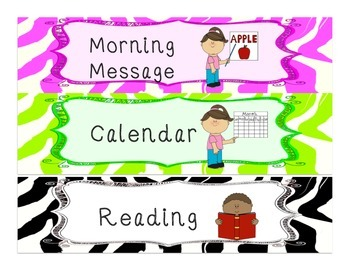 Zebra Print Kindergarten Visual Schedule Cards in D'Nealian print- plus blanks!