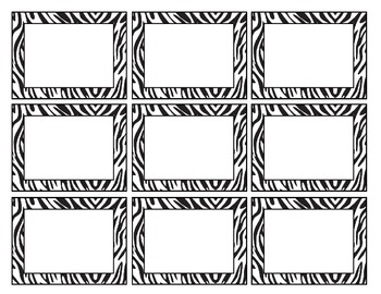 Zebra Print Label Sheet