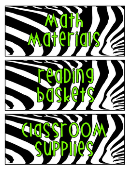 Zebra Print Labels for the Classroom