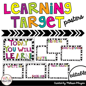 Learning Target Posters Editable By Melissa Obryan Wild