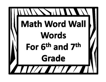 Zebra Print Math Word Wall Words For 6th and 7th Grade