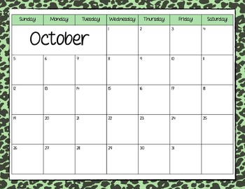 Zebra Print Monthly Calendar 2014-2015