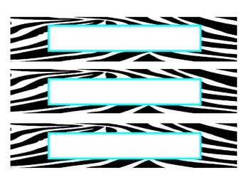 Zebra Print Name Plates - Aqua