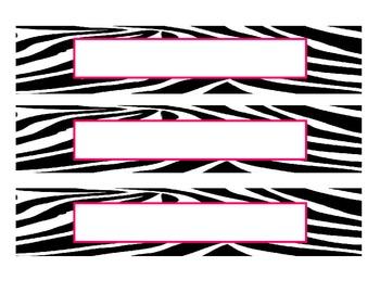 Zebra Print Name Plates - Pink