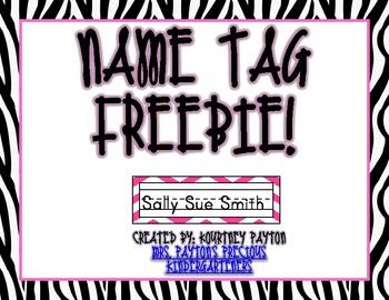 Zebra Print Name Tag Freebie