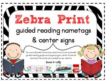 Zebra Print Nametags & Center Signs