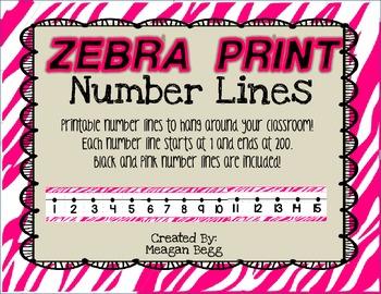 Zebra Print Number Line 1-200
