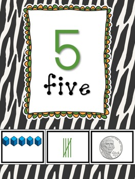 Zebra Print Number Posters 1-20 and Counting by 10s and Ordinal Numbers