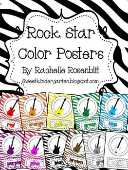 Zebra Print Rock Star Theme Color Posters