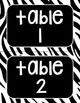 Zebra Print Table Numbers--4 Bright Colors, 3 Sizes!