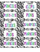 Zebra Print Decor Bright Colors Teacher Tool Box