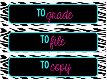 Zebra Print Decor Drawer Organization Labels 4 Bright Colors