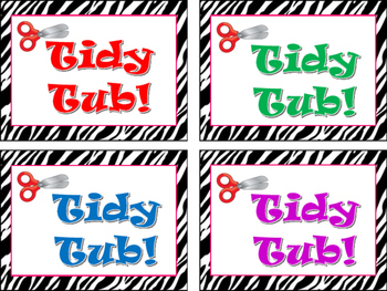 Zebra Print Tidy Tub Labels