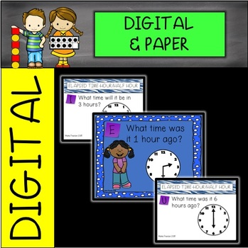 Elapsed Time to the Hour/Half Hour Digital and Printable Task Cards