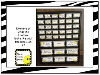 Toolbox Labels ~ Zebra Print with Happy Faces (Font~Editable)