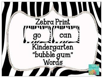 Zebra Print Word Cards {freebie}
