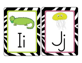 Zebra Print Word Wall Alphabet Cards