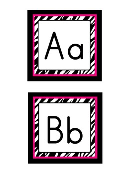 Word Wall Headers: Zebra with hot pink