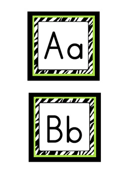 Word Wall Headers: Zebra with lime green