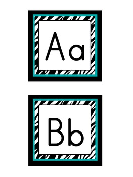 Word Wall Headers: Zebra with turquoise