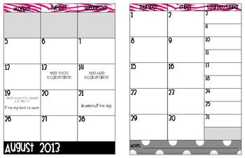 Zebra Print and Black and white polka dot Planning Calendar