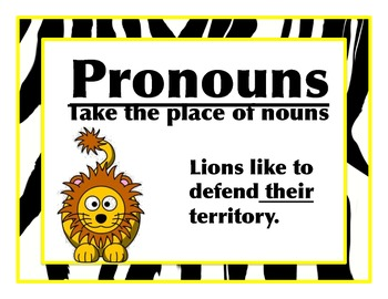 Zebra Print and Jungle, Parts of Speech, Posters and Examples