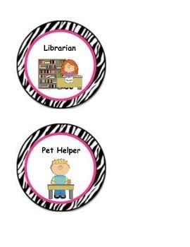 Zebra Print and Pink Classroom Jobs