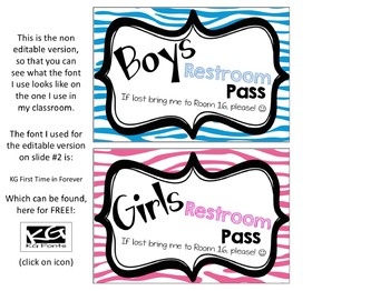 Zebra Restroom Break Passes