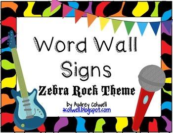 Zebra Rock Word Wall Signs
