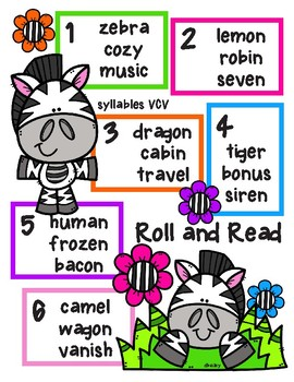 Zebra Roll and Read - Syllables VCV