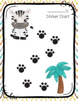 Zebra Safari Animal Sticker Chart
