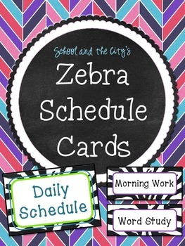 Schedule Cards - Zebra Print and Purple / Teal