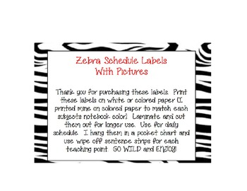 Zebra Schedule Labels with Pictures