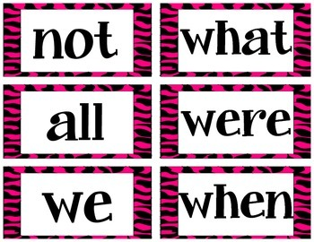 Zebra Sight Word & Word Wall Labels