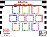 Editable Zebra Stripe blank multipurpose Labels - Tags