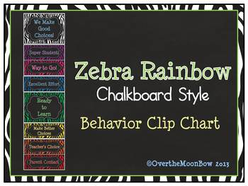 Zebra Stripe Rainbow Chalkboard Style Behavior Clip Chart