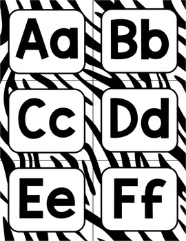 Zebra Stripe Decor Word Wall Alphabet Headers in 4 colors