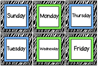 Zebra Striped Days of the Week Cards for Pocket Calendar Chart Calendar Cards