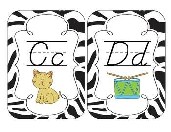 Zebra Stripes Alphabet Cards: D'Nealian Version