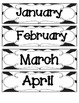 Zebra Stripes Calendar Numbers, Months and Days