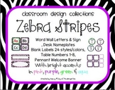 Zebra Stripes Classroom Set including Word Walls and Labels