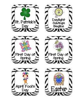 Zebra Stripes Holiday Calendar Pieces