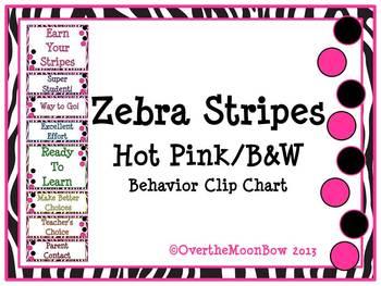 Zebra Stripes ~ Hot Pink/B&W Behavior Clip Chart