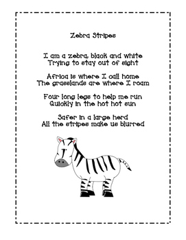 Zebra Stripes Poem