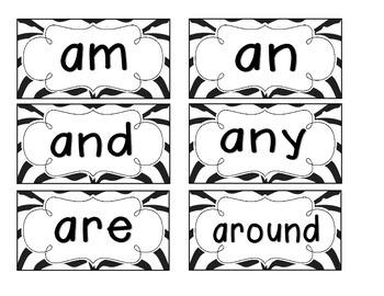 Zebra Stripes Word Wall Cards